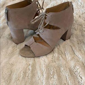Franco Sarto Lace up, Peep Toe Booties, Size 9